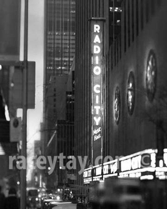 Radio City Music Hall, New York Photography, Office Decor, NYC Art at Night, New York City Print