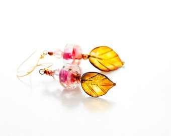 Glass Bead Earrings. Artisan Leaf Headpins. Pink Boro Beads. Small Dangle Earrings. Boho Gypsy Earrings. Lampwork Jewelry.