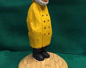 Custom Carved Old Salty Fisherman Wood Carving Hand CarvedHandmade Gift For Dad Gift For Him Sailor Figurines Home Decor, Art, Sculpture