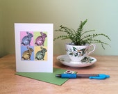 Spring rabbits note card. Easter bunnies, Easter card. Pop art rabbit card. Warhol inspired card. 4th birthday card. Spring birthday card.