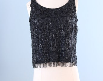1960s black beaded wool top / 60s wool knit beaded sequence top / All That Jazz top