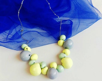 Pastel Statement Necklace, Everyday Bib Necklace, Polymer Clay Necklace,Yellow Grey Mint Necklace,