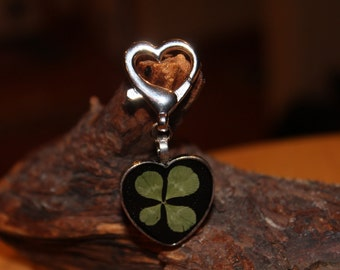 Real Four Leaf Clover Shamrock Key Chain for St. Patrick's Day Lucky Shamrock Key Chain