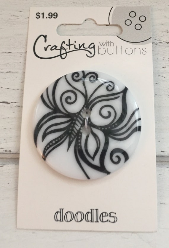 Large Butterfly Doodles Button by Blumenthal Lansing Crafting with Buttons Black and White 2 Hole