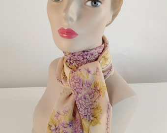 Vintage 1950s Scarf, Women's Scarf, Cream, Lavender, Purple, Yellow, Grey, Black, Violets, Snowdrops, Silk, Carol Stanley, Sally Victor