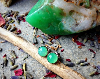 Ectoplasm Specimens - 5mm Chrysoprase Sterling Silver Handcrafted Post Earrings - Green - Chalcedony - Halloween - Stud - Gemstone - Autumn