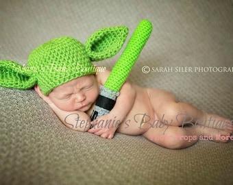 Crochet Baby Yoda Hat and Lightsaber Set, Custom Made, Newborn, 0-3, 3-6 months, Handmade, Photo Prop, Photography Prop, Shower Gift