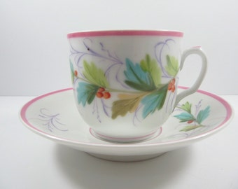 Antique Charles Field Haviland Limoges France Porcelain Cup And Saucer Hand Painted Leaves And Berries
