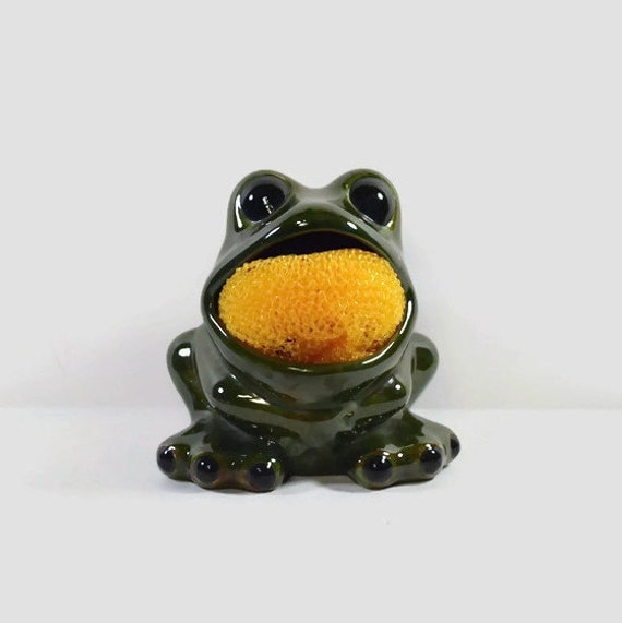 Vintage Frog Green Ceramic Kitchen Sponge Holder By NeedorWant