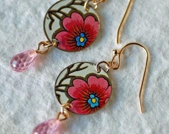 Vintage Tin Earrings- Pink Roses, Boho, Retro Jewelry, Bohemian Style, Repurposed