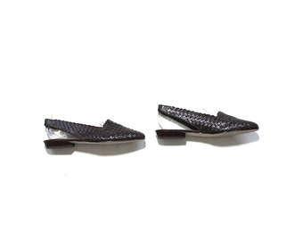Vintage Leather Sandals 7 / Brown Leather Sandals / Slingback Sandals / Woven Flats