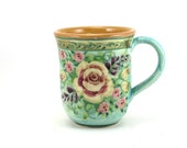 Ceramic Coffee Mug - Handmade Porcelain Tea Cup - Blue Background with Floral Rose Design and Yellow Inside