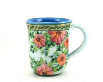 Glazed Pottery Mug - OOAK Handmade Coffee Mug with Orange Flowers - Blue Tea Cup - Blue Porcelain Inside