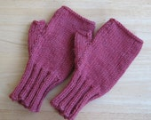 Rose Fingerless Mittens, Washable Wool, Adult Small/Medium