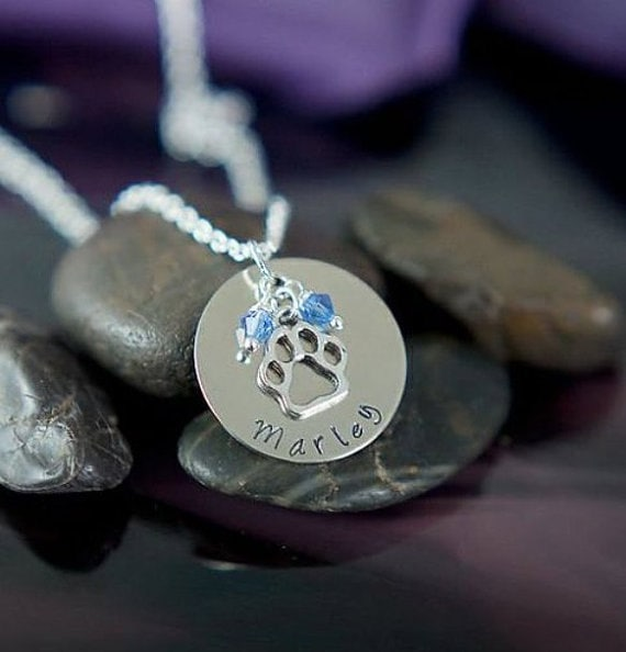 Personalized Dog Necklace - Dogs Name - Dog Jewelry - Pet Memorial Gift - Dog Paw - Loss of Pet -New Puppy-Dog Lover Gift-Handstamped