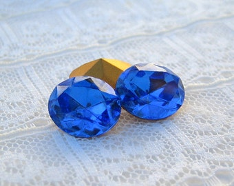 12x10 Sapphire Blue Oval Swarovski Rhinestone Gold Foiled Pointed Back Quantity 2