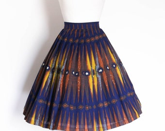 Navy and Mustard African Print Pleated Skirt - Made by Dig For Victory
