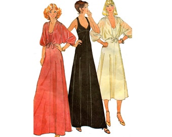 McCall's 6396 70s Stretch Prom Evening Maxi Dress & Shrug Vintage Sewing Pattern Size 8 Bust 31.5 inches UNCUT Factory Folded