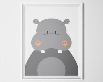 Hippopotamus, Hippo Baby, Hippo Art, Animal Wall Art, Animal Printables, Animals Print Nursery, Neutral Nursery, Printable Art, Funny Decor
