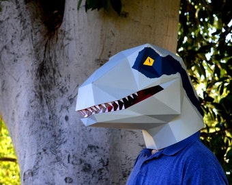 Velociraptor Dinosaur Mask - You Supply the Paper, We Supply the Pattern! | Halloween Mask | Dinosaur Mask | Jurassic Park | Jurassic World