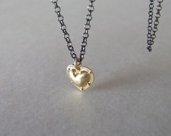 Industrial Heart Necklace - alternative heart necklace , riveted heart , steampunk necklace , black and gold necklace , heart pendant