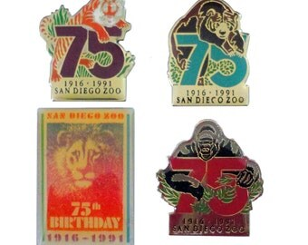 SAN DIEGO ZOO 75th Anniversary vintage enamel pin lapel badge collection lot California
