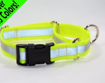 Reflective Quick-Release Martingale Dog Collar - 27 colors - any size - MADE to ORDER