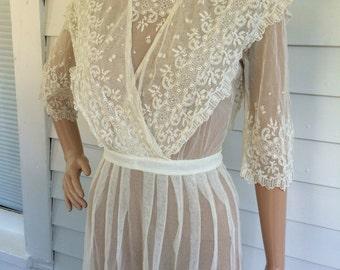 Edwardian Wedding Dress Antique Titanic Gown Lace Bridal Ivory XS Vintage