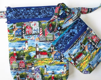Seaside Lighthouse Town Quilted Purse,Quilted Inside/Out,Handcrafted Your Choice Small or Large Waist Belt Bag,Shoulder Cross Body Bag