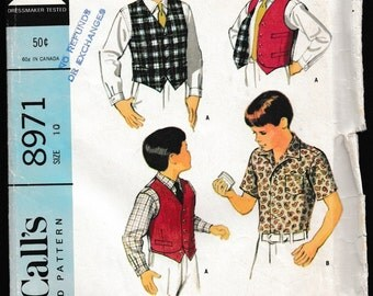 McCall's 8971 Boy's Shirt in Two Versions,Vest and Reversible Vest