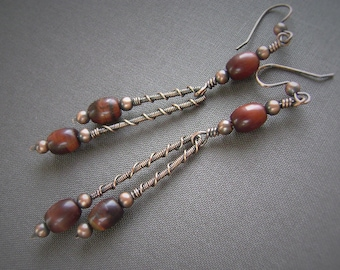 Red Tigereye Earrings, Copper Wire, Stick Earrings, Wire Wrapped, Tiger Eye Earrings, Handmade, Artisan Earrings, 969