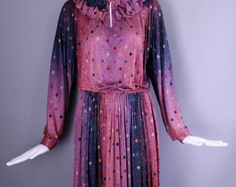 1970's MISSONI Bloomingdales Silk Jersey ombre paint Print slinky knit DRESS vintage 70s chic 8 - 10