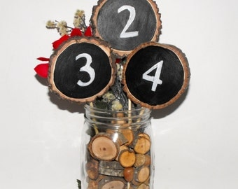 Chalkboard Table Numbers ~ 1-10 lot ~ Rustic Parties ~ Woodland Wedding ~ Tall Table numbers ~ Birthday ~ wooden chalkboard number
