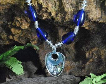 Robert Lee Morris Necklace // Sterling Pendant, Saucer and Spiral Beads ~ Cobalt Blue Czech Glass Beads  // Modernist Southwestern Design