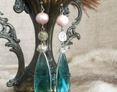 SOLD to MT - venetian teardrops - earrings freshwater pearl vintage rosary connectors green aqua teal faceted glass drop assemblage