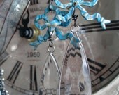 EARRINGS - blue bows and crystal drops faceted glass hand painted vintage style dangle romantic shabby, the french circus by robyn parrish