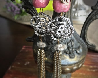 gypsy rose earrings - rhinestone tassel chain dangle drops pink artisan beads art nouveau art deco flower floral tulip boho bohemian jewelry