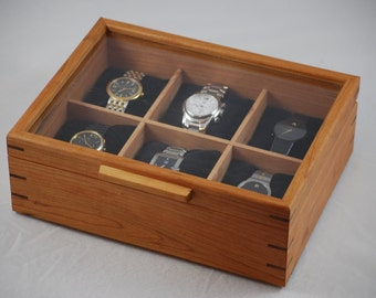 Watch Box with glass top - Holds 6 watches - Cherry