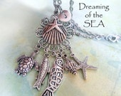 Ocean Theme Charm Necklace, Girls, Teens, Womens, Shells, Sea Turtle, Starfish, Fish, Personalized, Initial, Letter Charm, Birthday Gift