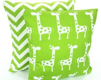 Childrens Throw Pillow Covers, Decorative Pillows, Nursery Pillows Cushions Lime Green White Giraffe Chevron Zig Zag Combo Set Various Sizes