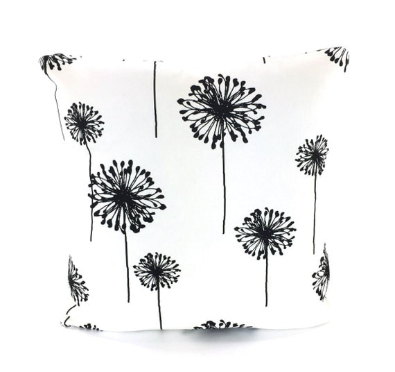 Black Dandelion Pillow Cover, Decorative Throw Pillow, Cushion Covers, Black White Dandelion, Pillows for Bed Couch, One or More ALL SIZES