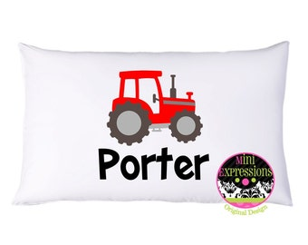 Personalized Tractor Pillow Case