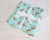 Foxes on Aqua Flannel Baby Blanket - single thickness blanket