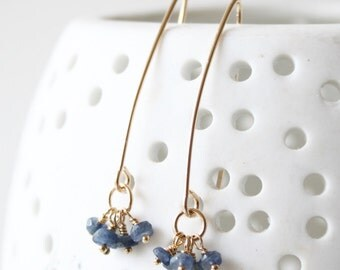 Rose gold, gold fill, silver and Sapphire earrings, gold drop earrings, dainty earrings, delicate earrings, gift for her, birthday gift,