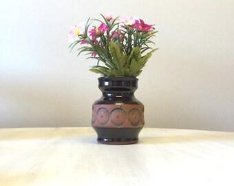 Small rustic vase, tiny clay bud vase, brown china flower vase, little pottery vase, ceramic mini flower holder, rustic brown clay vase