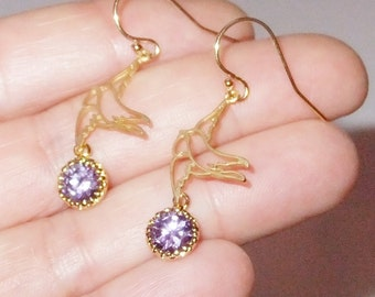 Sweet Love Bird Earrings in Gold with Purple Glass Bezel Drops, Love Bird Jewelry, Best Friend Bridesmaid Bridal Love Gift