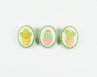 Cactus Brooch / Felt Cactus Pin / Felt Succulent / Miniature Cactus / Mini Cactus Felt Brooch / Illustrated Cactus Felt Pin / Pastel Cactus