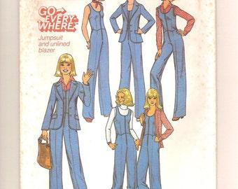 Vintage 70s Jumpsuit & Blazer Pattern - Simplicity 7887 Unlined Jacket Size 8