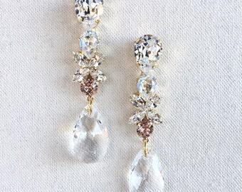 GABRIELLE- Swarovski Bridal Earrings- Crystal Drop Earrings- Blush Bridal Earrings- Crystal Earrings- Chandelier Bridal Earrings
