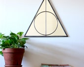 Triangle Circle Wall Mirror Geometric / Large Handmade Wall Mirror Pyramid Deathly Hallows Harry Potter